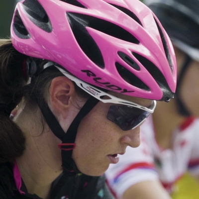 Competitive female bikers lined for start