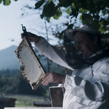 Beekeeper And Honeycomb With Bees-11