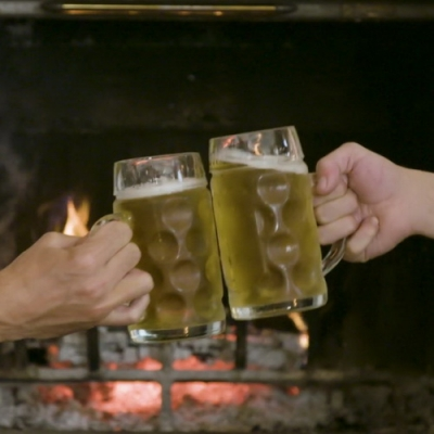 Beer Toast In Front Of The Fireplace-13